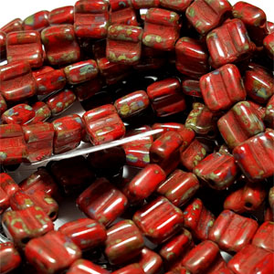 Red Travertin apx 30 beads