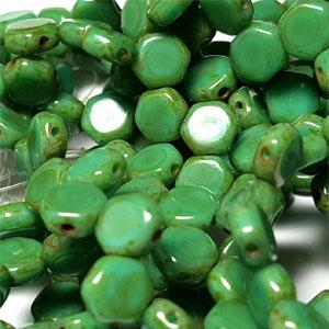 Grn Turq Travertin- 30 beads