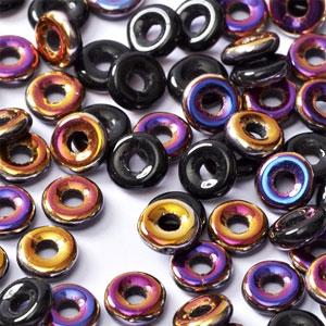 O-Bead 2x4mm size 1.3mm hole, Jet Sliperit, 23980-29500