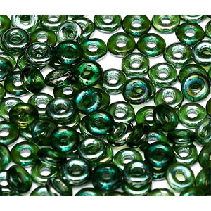 O-Bead 2x4mm size 1.3mm hole, Emerald Celsian, 50730-22501