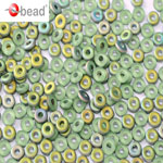 O-Bead 2x4 mm size 1.3 mm hole, MATT Peridot Vitrail, 50510-28171