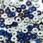 O-Bead 2x4mm size 1.3mm hole, Chalk White Azuro Matted, 03000-22271
