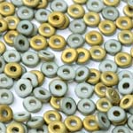O-Bead 2x4mm size 1.3mm hole, Chalk White Amber Matted, 03000-26471