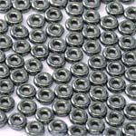 O-Bead 2x4mm size 1.3mm hole, Jet Hematite, 23980-14400