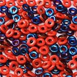 O-Bead 2x4mm size 1.3mm hole, Opq Azuro Red, 93200-22201