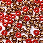 O-Bead 2x4mm size 1.3mm hole, Opq Amber Red, 93200-26441