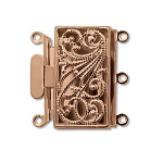 Box 13x22mm 3 hole copper plated clasp