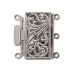 Box 13x22mm 3 hole Silver plated clasp