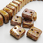 CheXX, 6x6mm, two-hole, Pink-Gold Marble, CZXX02010-15695