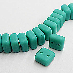 CheXX, 6x6mm, two-hole, MATT Turquoise-Green, CZXX63120-84110