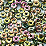 O-Bead 2x4 mm size 1.3 mm hole, Jet Vitrail Full, 23980-28100