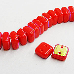 CheXX, 6x6mm, two-hole, Red AB, CZXX93400-28701