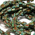 Turq Dk. Travertin apx 30 beads