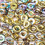 O-Bead 2x4 mm size 1.3 mm hole, Golden Rainbow, 00030-98536