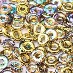 O-Bead 2x4 mm size 1.3 mm hole, Golden Rainbow, 00030-98536