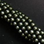 Czech glass pearls, 2mm Russian Green Satin, 85942