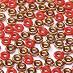 O-Bead 2x4mm size 1.3mm hole, Opq Sunset Red, 93200-27137