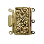 Box 13x22mm 3 hole Gold plated clasp