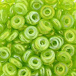 O-Bead 2x4 mm size 1.3 mm hole, Luster Neon Green 51010-L