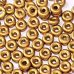 O-Bead 2x4 mm size 1.3 mm hole, Brassy Gold, 01740