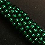 Czech glass pearls, 2mm Emerald 70455